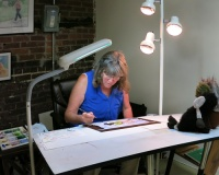artfulpassages.com - Barb Bromley at work in her studio