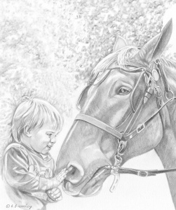 artfulpassages.com - Transitions post.  Pencil Sketch of Gabriel with Horse