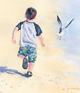artfulpassages.com - Transitions Post.  Watercolor of sam on the beach with gull