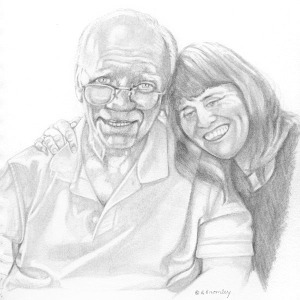 Pencil skectch of father and daughter, Artist:  Barbara Bromley a.k.a. artfulbarb
