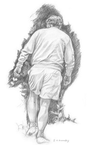 Pencil sketch of old man walking away, carrying a flower