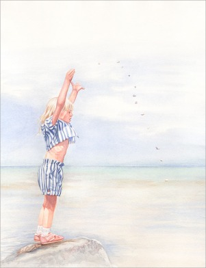 Throwing Rocks - Watercolor