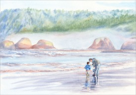 Dad and Son on Beach - Watercolor