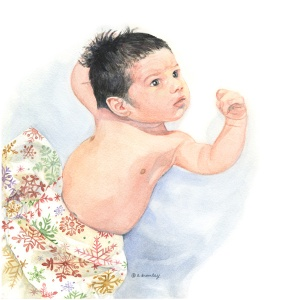 Watercolor of Sam as a baby
