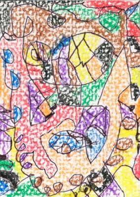 Art Sam 5 years old patterns crayon