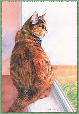 Watercolor painting of a three-colored cat named Abbey, sitting in a window sill looking out