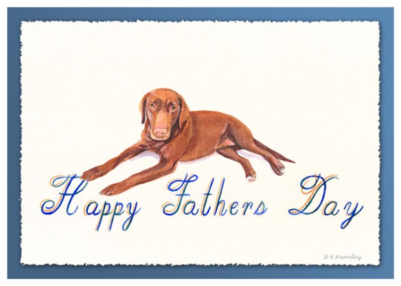 "Watercolor painting of a dog, with fancy lettering that says ""Happy Father's Day"""