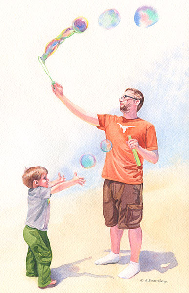 Watercolor painting of an uncle making soap bubbles for his nepheww