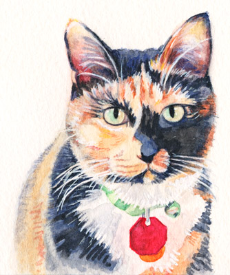 Final watercolor of a cat.  Part of a mini-lesson tutorial for this blog artfulpassages.com