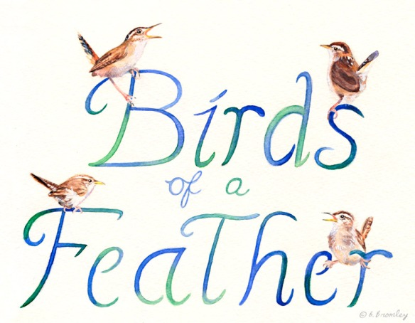 Watercolor painting of birds perching on the hand-lettered text