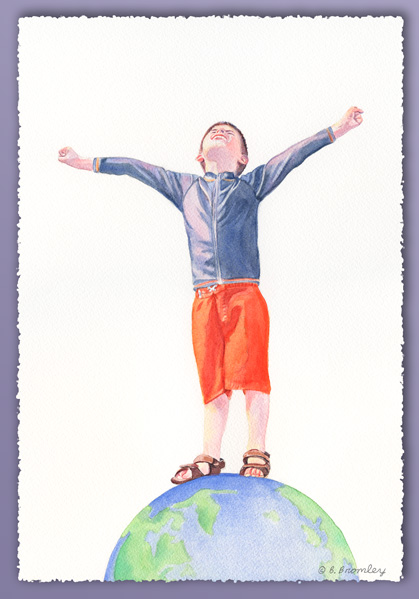 Watercolor painting of grandson Sam on his sixth birthday