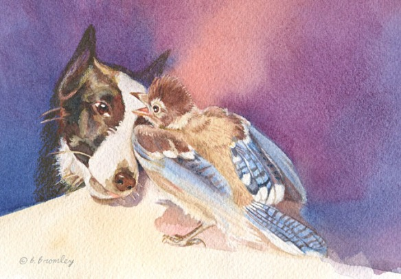 A watercolor painting by artist Barbara Bromley showing a dog and blue jay looking at one another.