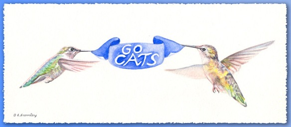 Watercolor painting of two hummingbirds holding up a blue banner that says