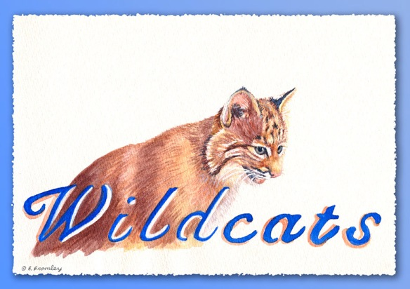 Watercolor painting by artist Barbara Bromley of a bobcat with the word