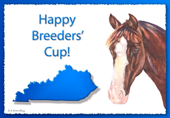 "Graphic design including a watercolor horse, outline of the state of KY, and the words ""Happy Breeders' Cup""."