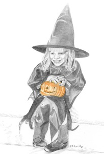 Pencil drawing of 4 year old girl in a Halloween witch costume, holding a pumpkin.