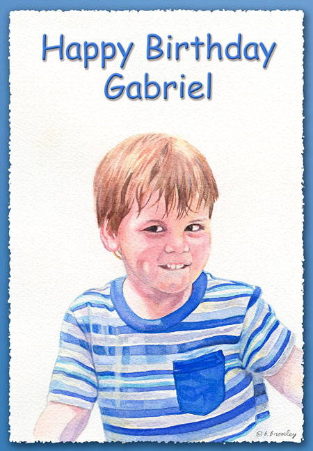 Front view of a greeting card with a young child (Gabriel) and the words