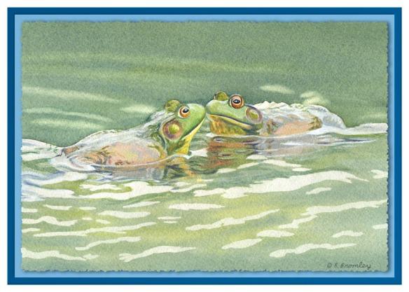 "Card from water color painting. Title is ""Kissing Frogs"". Text inside of card is ""I Found My Prince"""