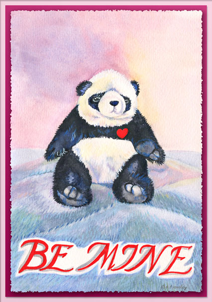 "Valentine's Day Card - Watercolor painting of a stuffed-animal Panda bear, and the words ""Be Mine"" in hand-rendered lettering."