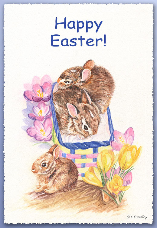 Happy Easter Card - Watercolor painting of a bunnies