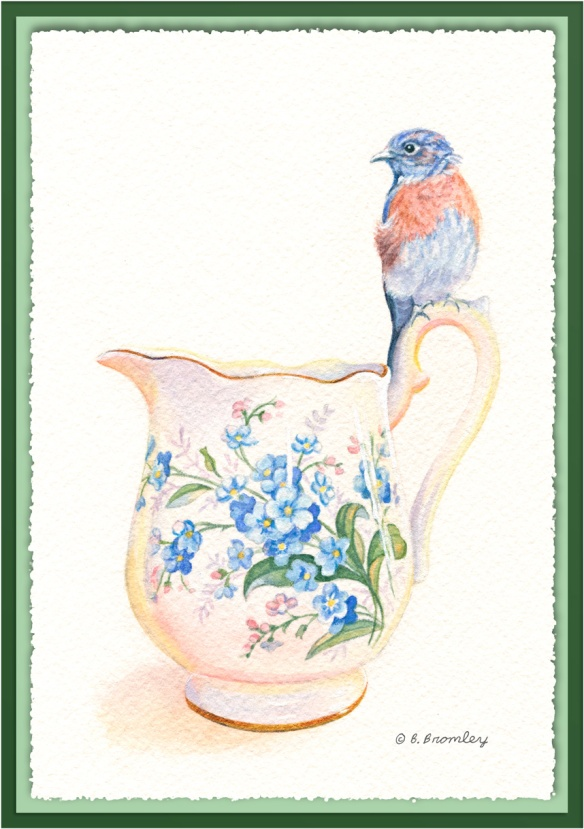 Watercolor painting of a bluebird perched on a china pitcher