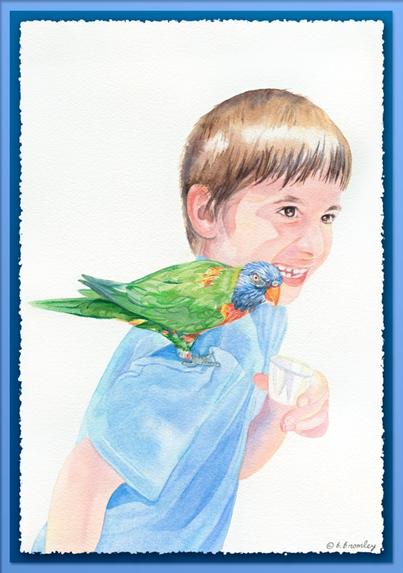 Watercolor painting of my grandson Sam.