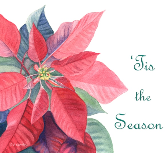 Watercolor painting, used as the front of my 2016 Christmas card